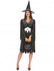 Hexenkostüm Halloween für Damen schwarz-grau