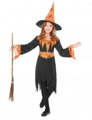 Hexenkostüm Halloween orange für Mädchen