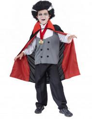 Vampir-Kostüm mit Medaillon für Jungen schwarz-grau-weiß-rot