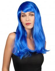 Langhaar-Damenperücke mit Pony blau