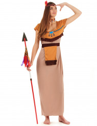 Langes Indianerinnen-Kostüm für Damen bunt