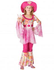 Hippiekostüm für Mädchen mit Hut bunt