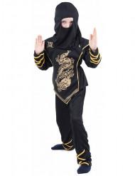 Ninja-Kostüm schwarz und gold für Jungen