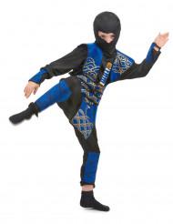Ninja-Jungen-Kostüm blau-schwarz-goldfarben