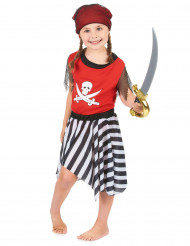 Freibeuterin Mädchenkostüm schwarz-weiss-rot