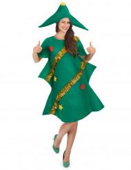 Weihnachtsbaum-Kostüm aus Filz für Damen grün-gold