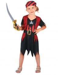 Seeräuber Mädchenkostüm schwarz-rot-weiss