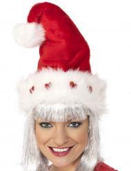 Weihnachtsmütze Deluxe mit blinkenden Herzen für Erwachsene