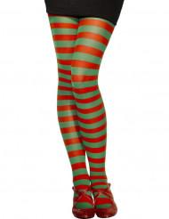 Gestreifte Wichtelstrumpfhose Weihnachten für Damen