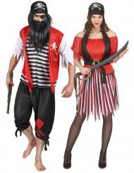 Piratenkostüm für Paare Karneval schwarz-rot