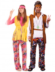 Hippie-Paarkostüm für Erwachsene 60er Jahre bunt