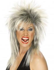 Blond-schwarze Rock-Perücke für Damen