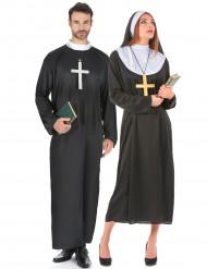 Nonnen und Priester-Paarkostüm für Erwachsene