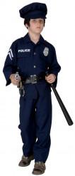 Polizisten-Jungenkostüm schwarz-blau-silberfarben