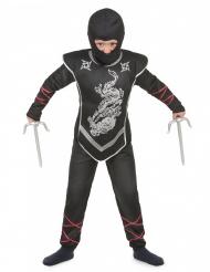 Ninja-Jungenkostüm schwarz-silberfarben-rot