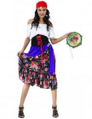Damenkostüm Zigeunerin mit Blumenrock und Korsett