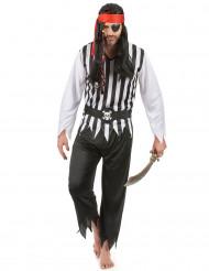 Piraten-Karnevalskostüm für Herren schwarz-weiss-rot