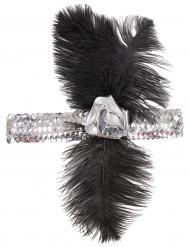 Charleston-Stirnband für Damen mit silber Pailletten