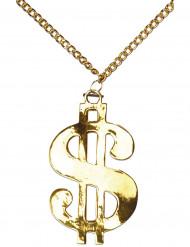 Dollar-Halskette Kostümzubehör Rapper gold