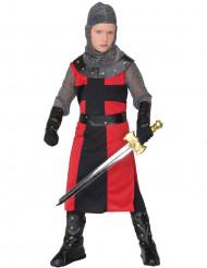 Mittelalter-Kinder-Ritterkostüm für Jungen schwarz-rot-silberfarben