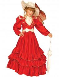 Edles Scarlett-Kostüm für Mädchen rot-cremefarben