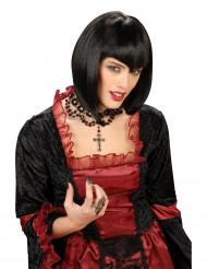 Schwarze Gothic Perücke für Damen