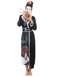 Drachenjägerin Geisha-Kostüm für Damen schwarz-weiss