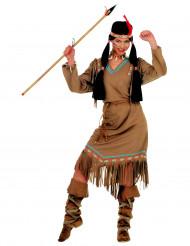 Indianer-Stammeskriegerin-Kostüm langärmelig bunt