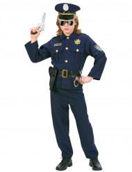 Polizisten-Kinderkostüm für Jungen schwarz-blau-goldfarben