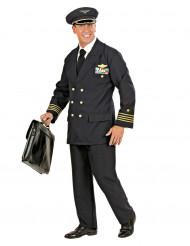 Piloten-Kostüm für Herren schwarz-goldfarben