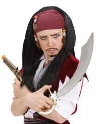 Piraten-Perücke mit lila Tuch für Herren bunt