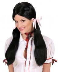 Schwarze Schulmädchen Perücke für Damen