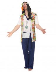 Hippiekostüm für Herren mit Bandana bunt