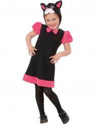 Katzen-Kinderkostüm für Mädchen pink-schwarz-weiss