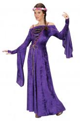 Mittelalter Damenkostüm violett-pink-weiss