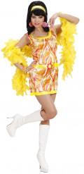 70er Jahre-Kostüm orange für Damen