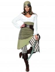 Sexy Piraten-Damenkostüm Seeräuberin grün-creme-braun