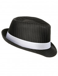 Gangsterhut schwarz mit weißen Streifen
