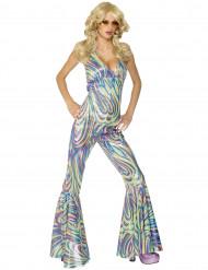 Promi Disco-Kostüm für Damen Sängerin-Overall bunt