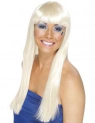 Weiße lange Perücke für Damen
