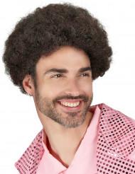 Lockige Disco-Perücke braun für Herren
