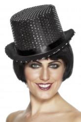 Schwarzer Hut mit Pailletten Sequin
