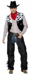 Cowboykostüm für Herren Kuhflecken schwarz-weiss