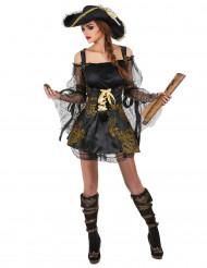 Piraten-Kostüm Deluxe für Damen schwarz-goldfarben