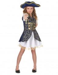 Piraten-Faschingskostüm für Mädchen blau-weiss-goldfarben