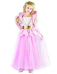 Märchenprinzessinnen-Kinderkostüm für Mädchen rosa-weiss-goldfarben