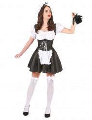 Heisses Zimmermädchen Kostüm für Damen schwarz-weiss