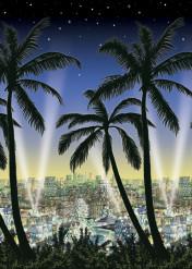 Wand-Deko Stadt und Palmen