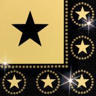 Servietten in Schwarz und Gold mit Sternenmotiv
