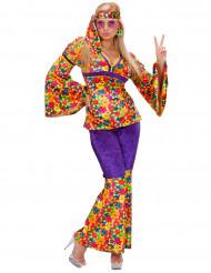 Hippiekostüm mit Blumenmuster für Damen bunt